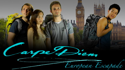 Cast of Carpe Diem pictured travelling in London.